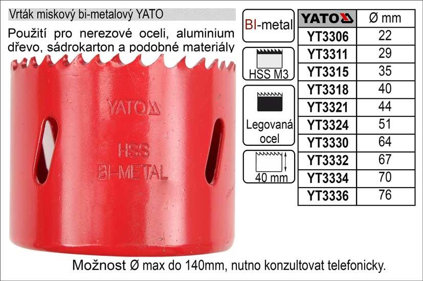 YATO Pilový vrták korunkový bimetalový vyřezávací  76 mm Nářadí 0.24Kg YT-3336