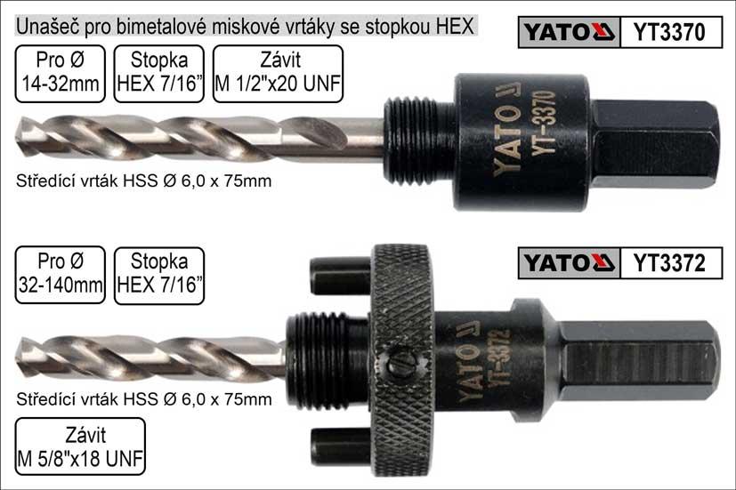 Unašeč pro bimetalové vrtáky 14-32mm s upíníním Hex Nářadí 0.09Kg YT-3370