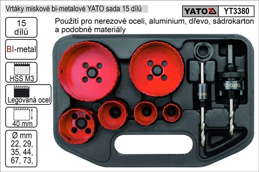 Vrtáky   YATO vyřezávací bimetalové miskové sada  8 dílů 22-73mm