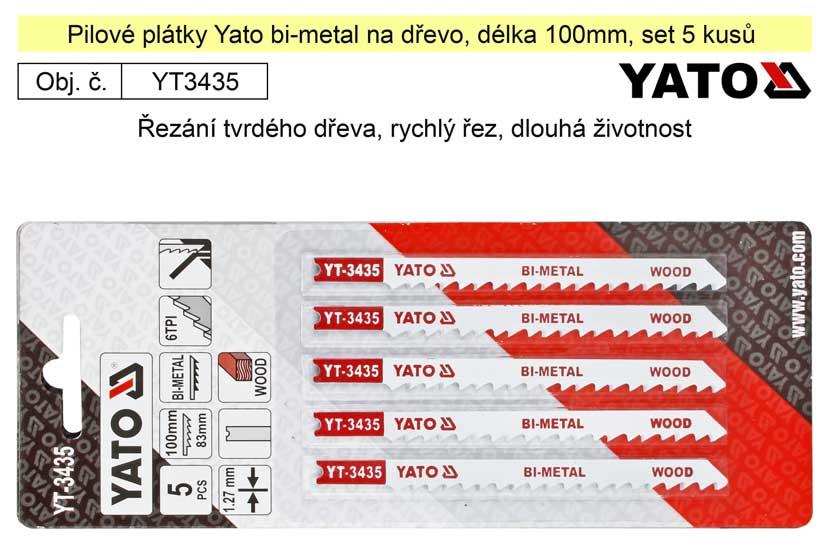 Pilové plátky Yato Bi-metal na dřevo set 5 kusů YT-3435