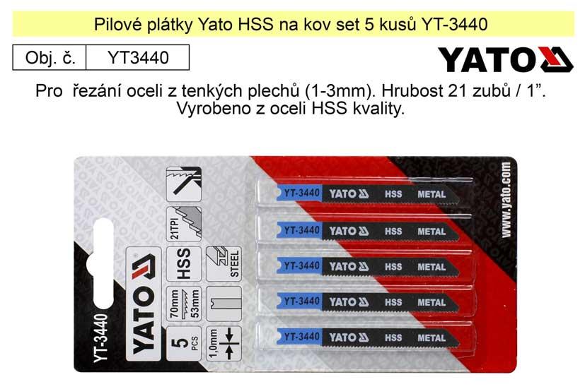 Pilové plátky Yato HSS na kov set 5 kusů YT-3440