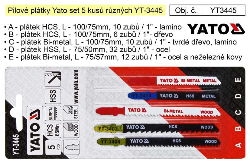 Pilové plátky Yato set 5 kusů různých YT-3445