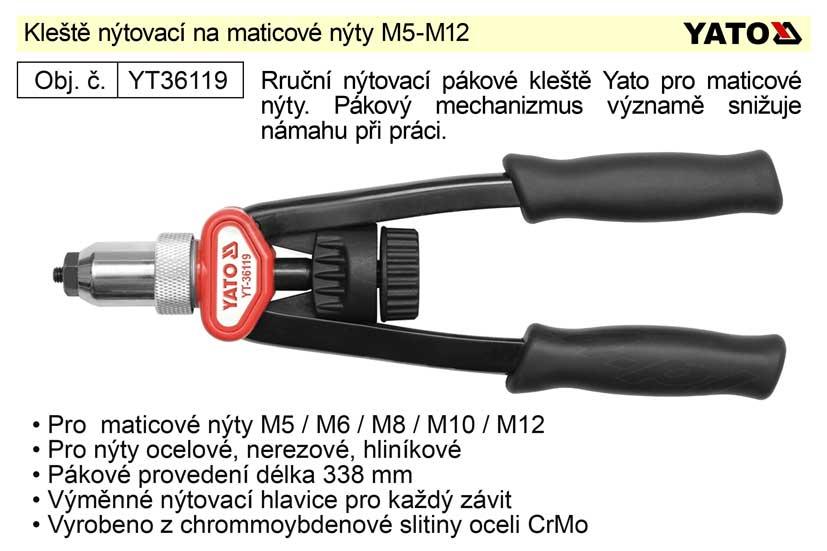 Kleště nýtovací maticové pro matice M5–M12 délka 338 mm Yato