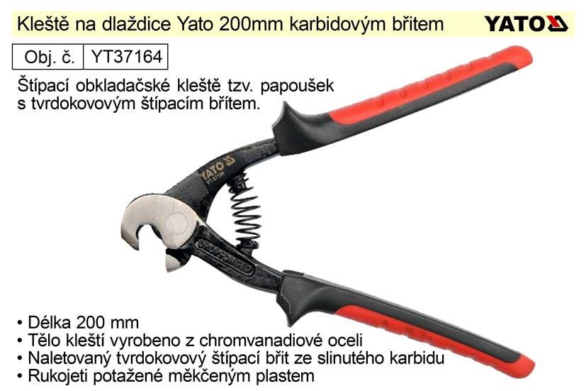 Kleště na dlaždice Yato 200mm karbidovým břitem