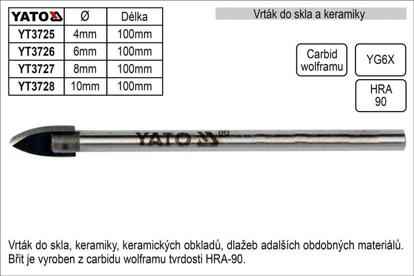 Vrták do skla a keramiky průměr 10mm Yato