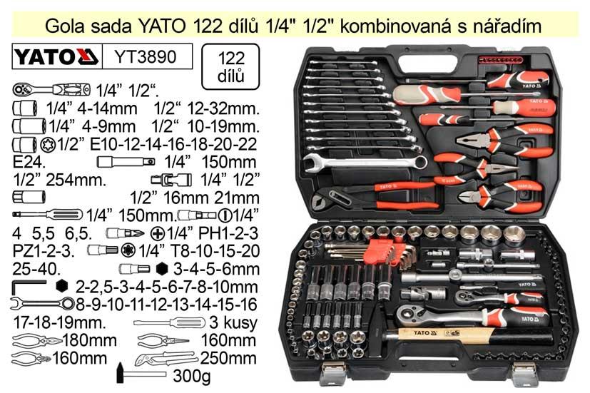 """Gola sada YATO YT-3890 122 dílů 1/4"""" + 1/2"""""""