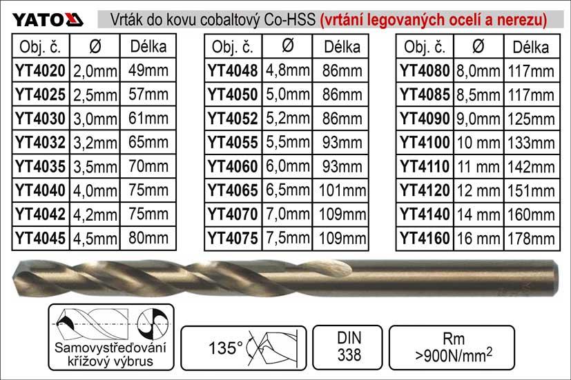 Vrták do kovu HSS-Co cobaltový  8,5 mm, balení 1 kus Nářadí 0.048Kg YT-4085