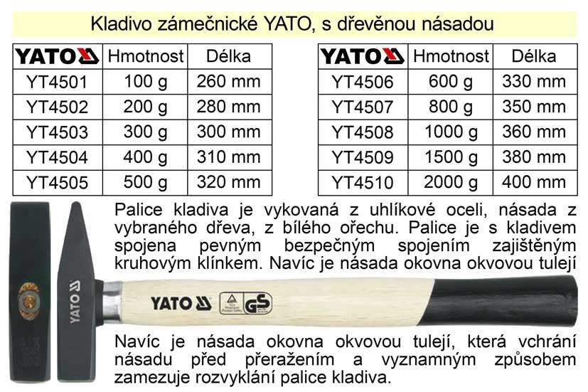 Kladivo zámečnické  YATO s dřevěnou okovanou násadou   300g Nářadí 0.4Kg YT-4503