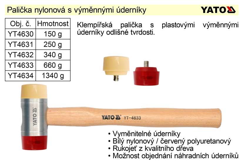 Palička nylonová, s dřevěnou násadou, 1340 g, Yato