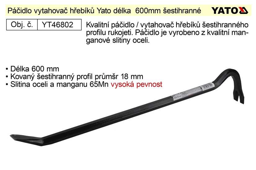 Páčidlo vytahovač hřebíků kované délka  600mm šestihranný profil 18mm