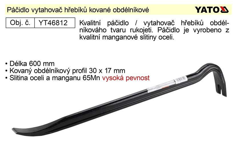 Páčidlo vytahovač hřebíků kované délka  600mm obdélníkový profil 30x