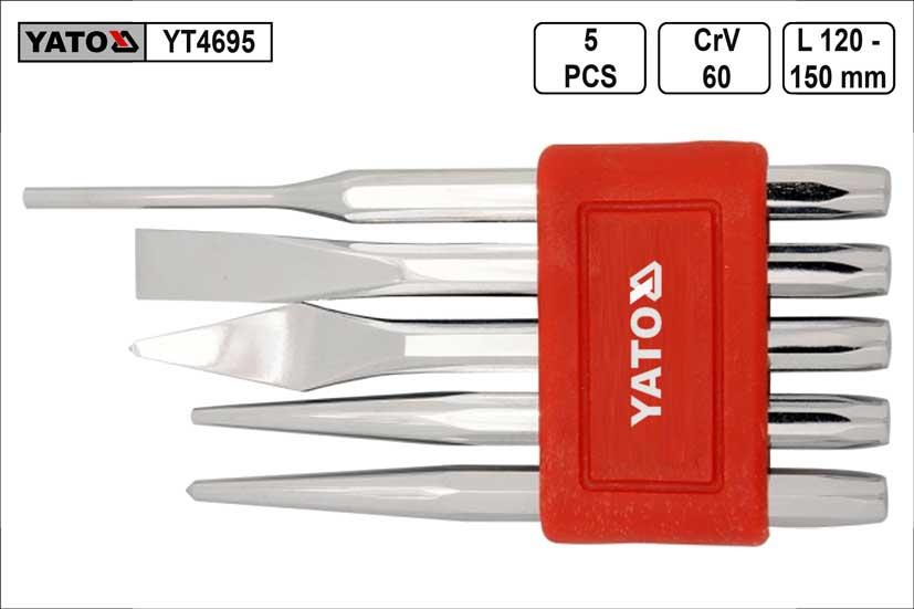 Sekáče průbojníky a důlčíky sada 5 kusů Yato