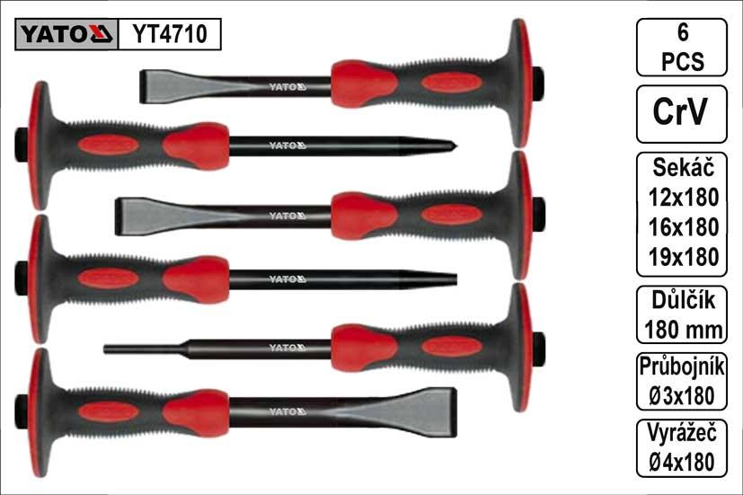Sekáče průbojníky a důlčíky s chráničem sada 6 kusů Yato