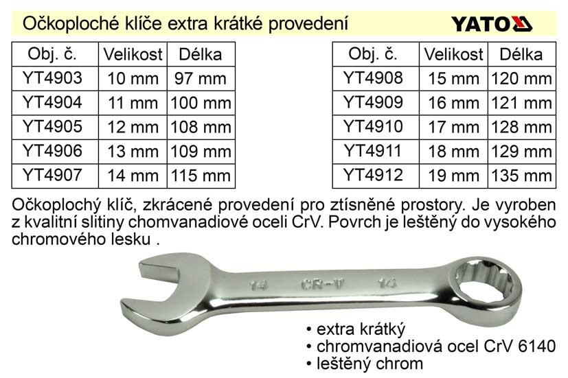 Očkoplochý klíč   Yato krátký  16mm CrV