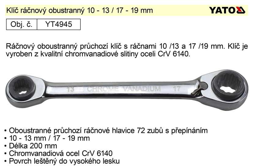 Klíč ráčnový obustranný 10 - 13 / 17 - 19 mm Yato