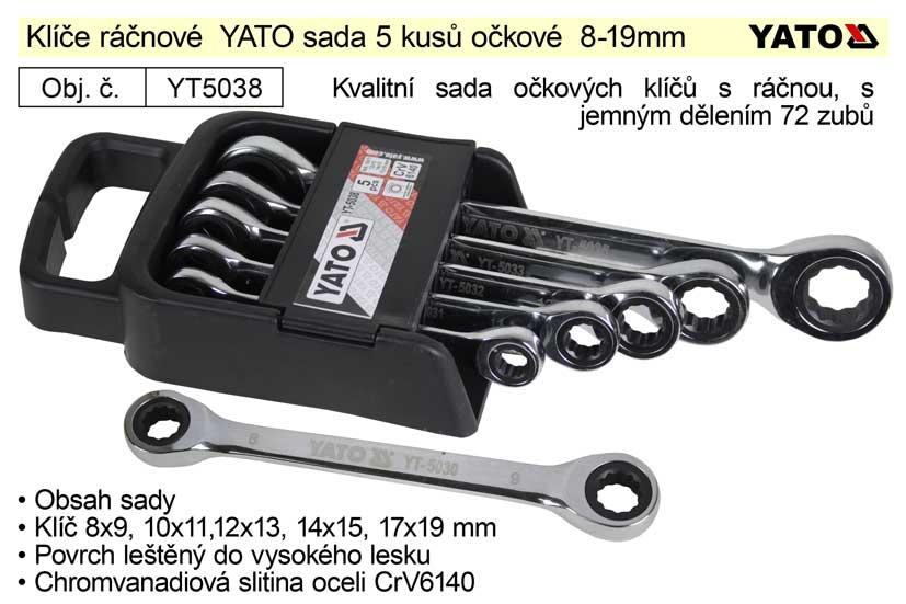 Klíče ráčnové  Yato sada 5 kusů očkové 8-19mm Nářadí 0.75Kg YT-5038