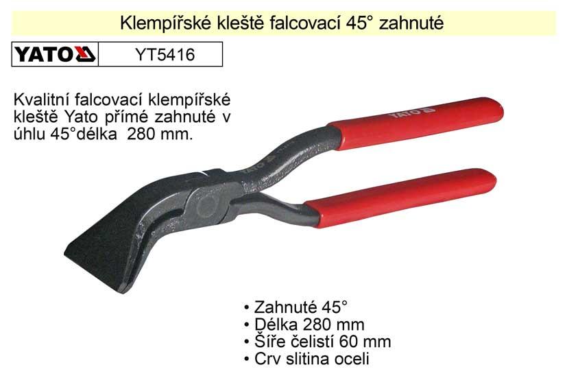 Klempířské kleště falcovací 45° zahnuté 280 mm