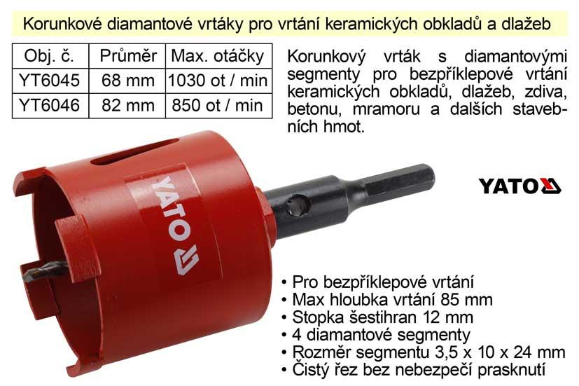 Vrták korunkový diamantový 68 mm pro vrtání keramických obkladů a dl Nářadí-Sklad 2 |  Kg