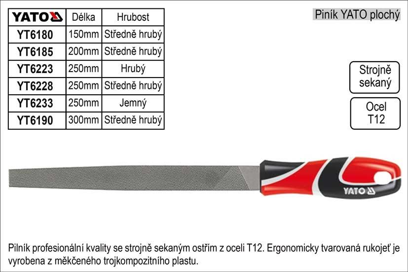 Pilník  YATO plochý délka 200mm středně hrubý