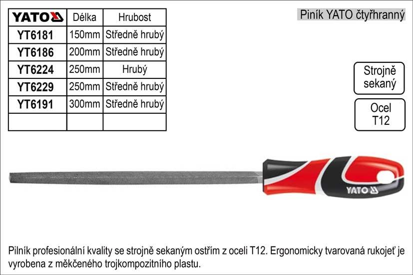 Pilník  YATO čtyřhranný délka 250mm  středně hrubý