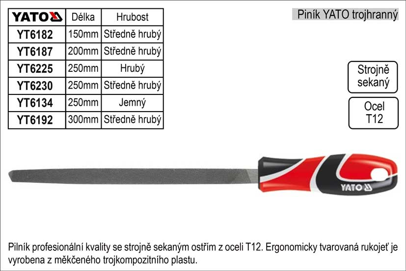 Pilník  YATO trojhranný délka 300mm  středně hrubý