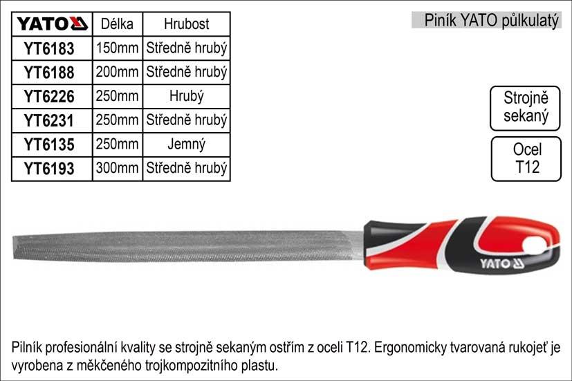 Pilník  YATO půlkulatý délka 200mm  středně hrubý