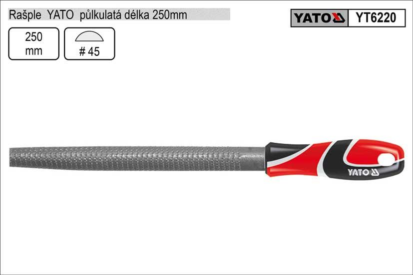Rašple  YATO půlkulatá délka 250mm Nářadí 0.347Kg YT-6220