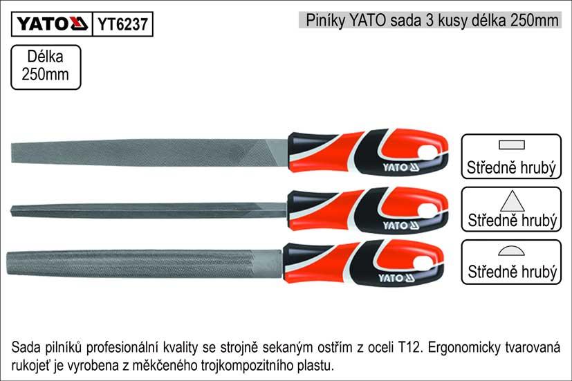 Pilníky  YATO délka 250mm sada 3 kusy Nářadí 1.075Kg YT-6237