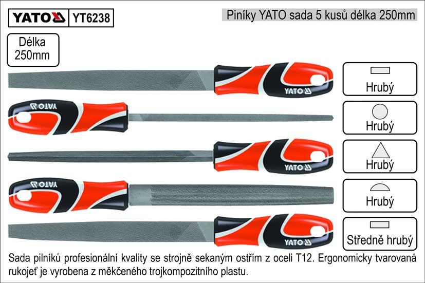 Pilníky  YATO délka 250mm sada 5 kusů