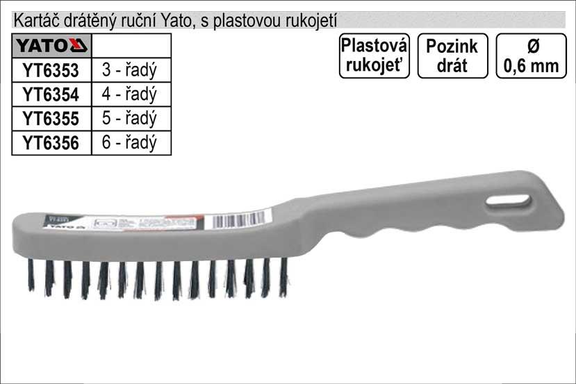 Kartáč drátěný ruční ocelový plastový 3 řadý Yato