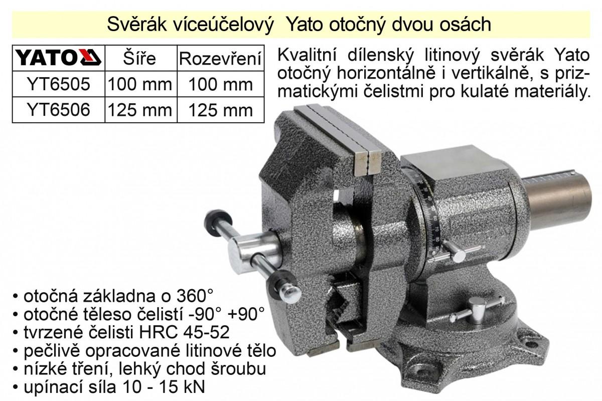 Svěrák víceúčelový  125 mm Yato otočný dvou osách