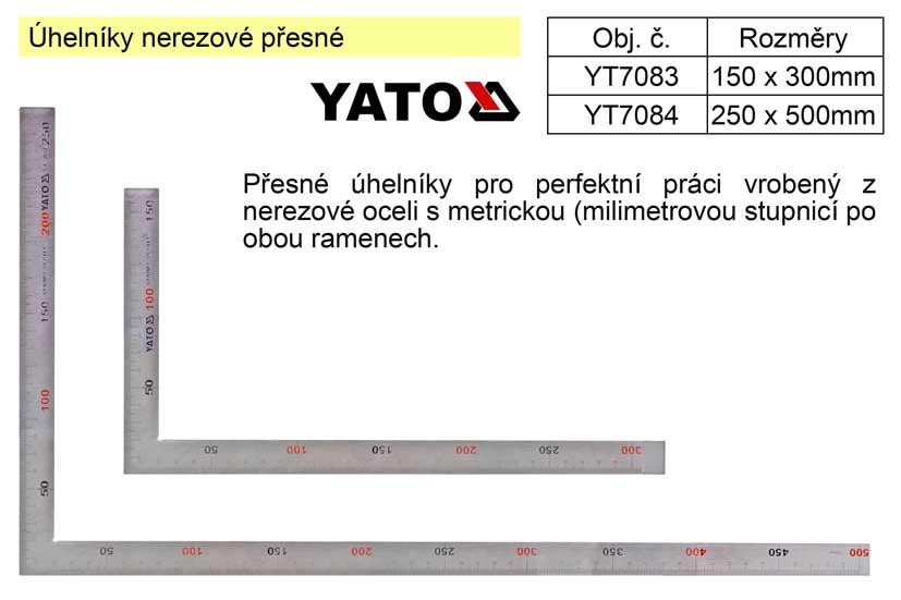 Úhelník nerezový přesný 150x300mm Nářadí 0.155Kg YT-7083