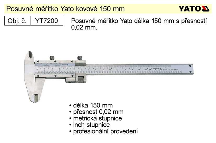 Posuvné měřítko kovové YATO 150mm