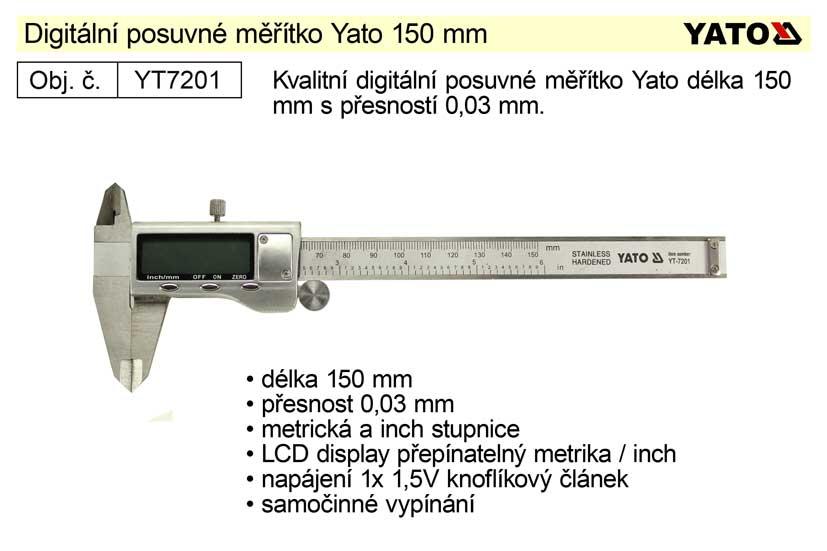 Posuvné měřítko digitální YATO 150mm