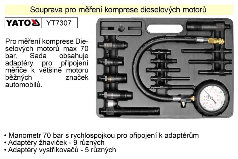 Souprava pro měření komprese dieselových motorů