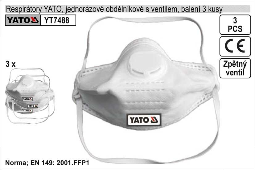 Respirátory obdélníkové se zpětným ventilem, sada 3 kusy