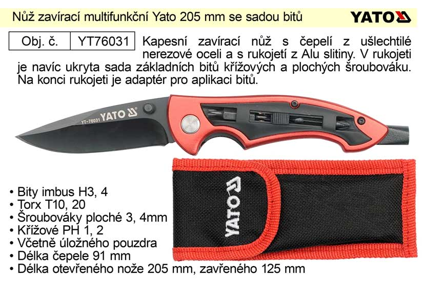 Nůž zavírací multifunkční Yato 205 mm se sadou bitů