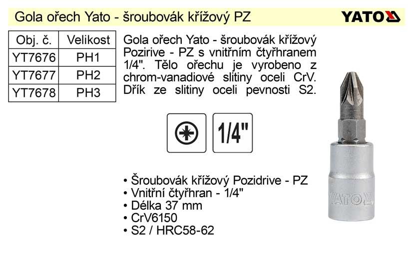 """Gola ořech 1/4"""" šroubovák křížový PZ1 YT-7676 Nářadí 2Kg YT-04417"""