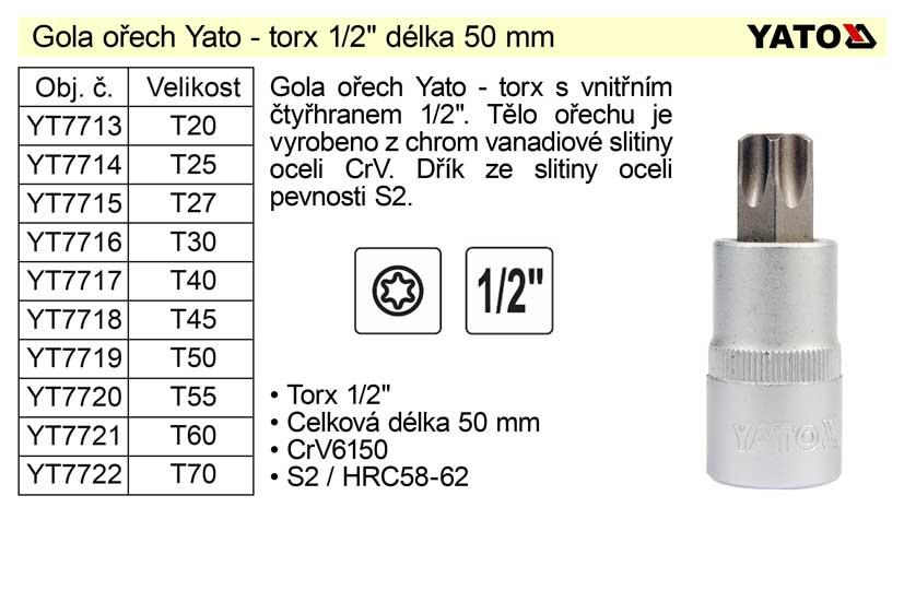 """Gola ořech torx 1/2""""  T70 YT-7722"""