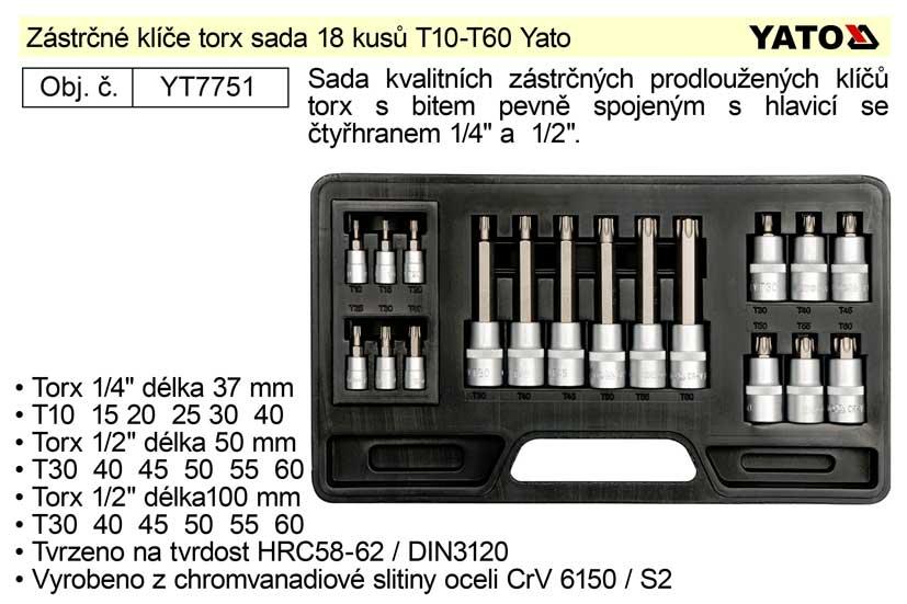 Nástrčné hlavice torx sada 18 kusů T10-T60 Yato