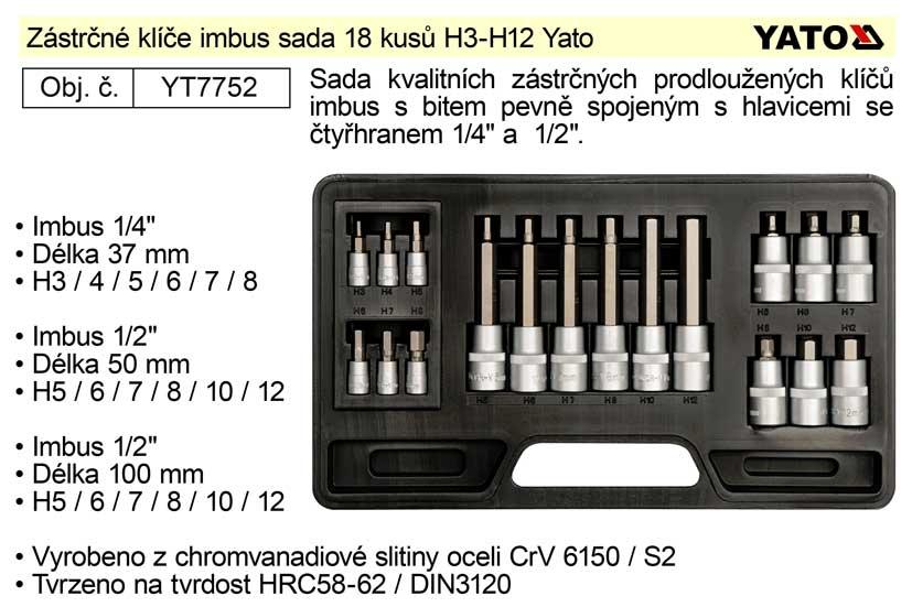 Nástrčné hlavice imbus sada 18 kusů H3-H12 Yato