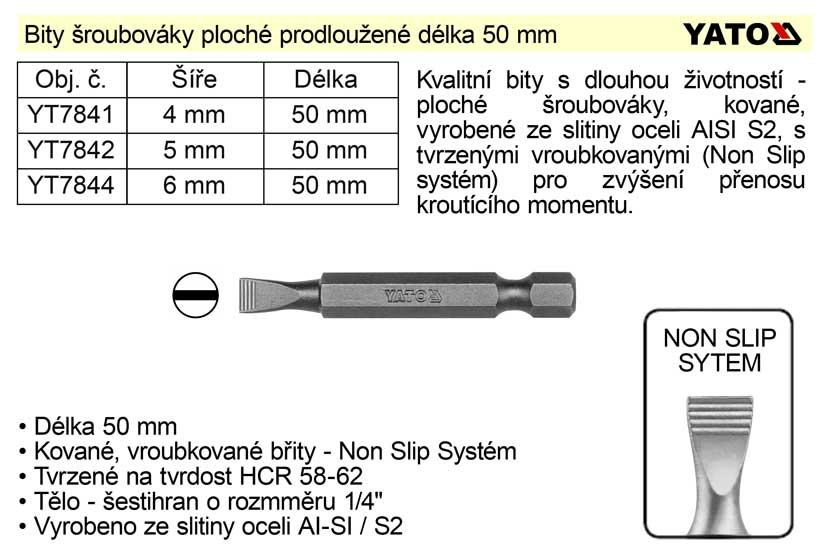 Bit šroubovák plochý šíře 6 mm délka 50 mm Yato