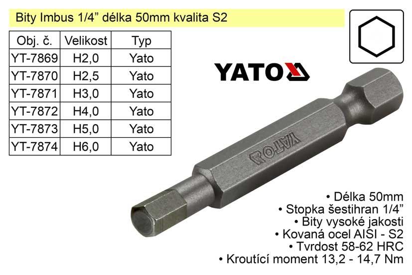 Bit Imbus H6x50mm 1/4' Yato Nářadí 2Kg YT-7874