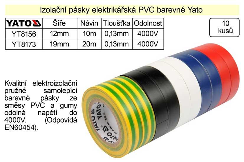 Izolační pásky elektrikářské PVC 12mm délka 10m barevné Yato balení