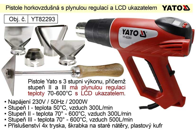 Pistole horkovzdušná Yato YT82293 s plynulou regulací teploty a LCD