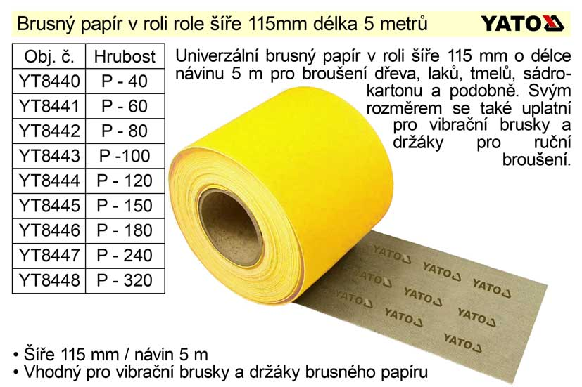 Brusný papír role 115mm  P-180 délka 5 metrů