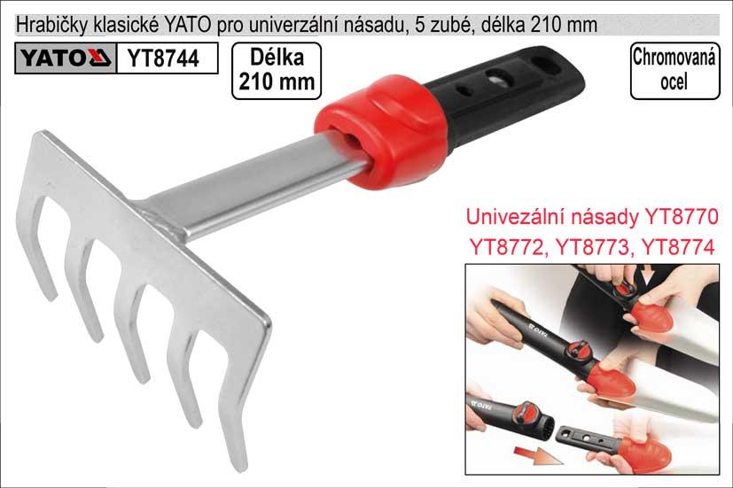 Hrabičky YATO  5 zubé šíře 210mm na univerzální násadu