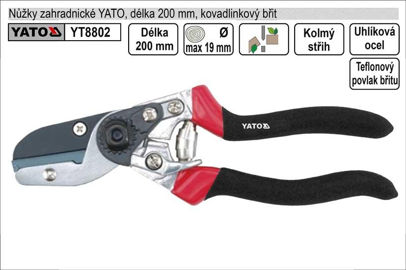 Nůžky zahradnické YATO 200mm kovadlinkový břit
