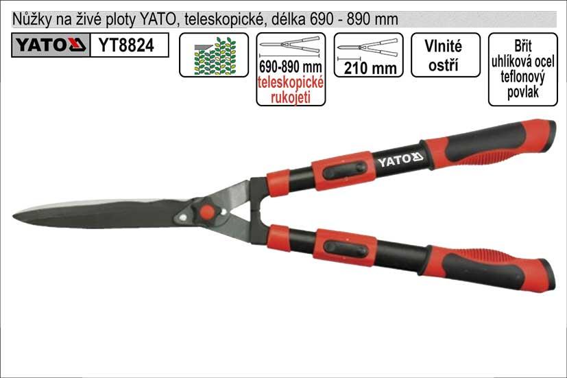 Nůžky na živé ploty YATO 690-890mm teleskopické