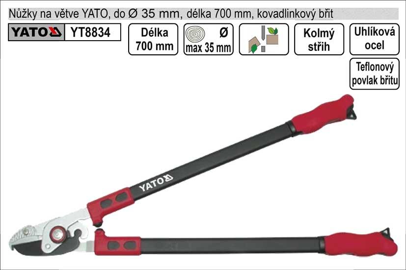 Nůžky na větve YATO 700mm kovadlinkový břit převodové